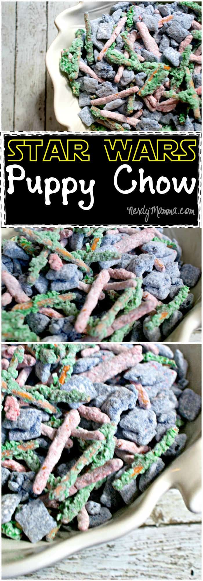 Wow. This Star Wars Puppy Chow is just so awesome.It's nut-free and has some coconut in it, which is awesome. But then it's all light sabers and awesome...LOVE IT!