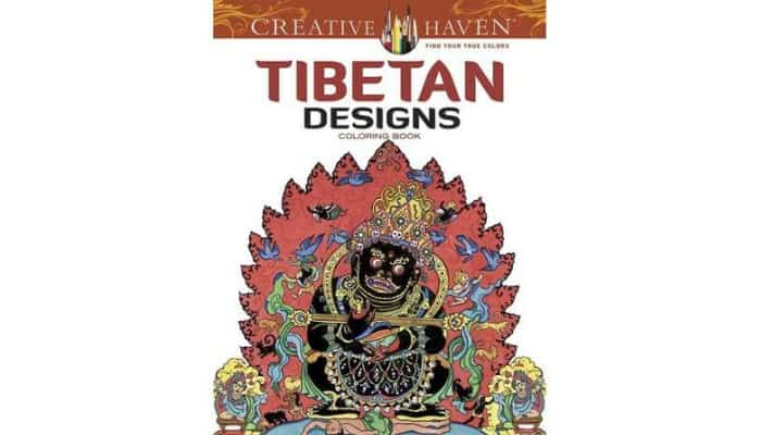 adult coloring book with tibetan designs