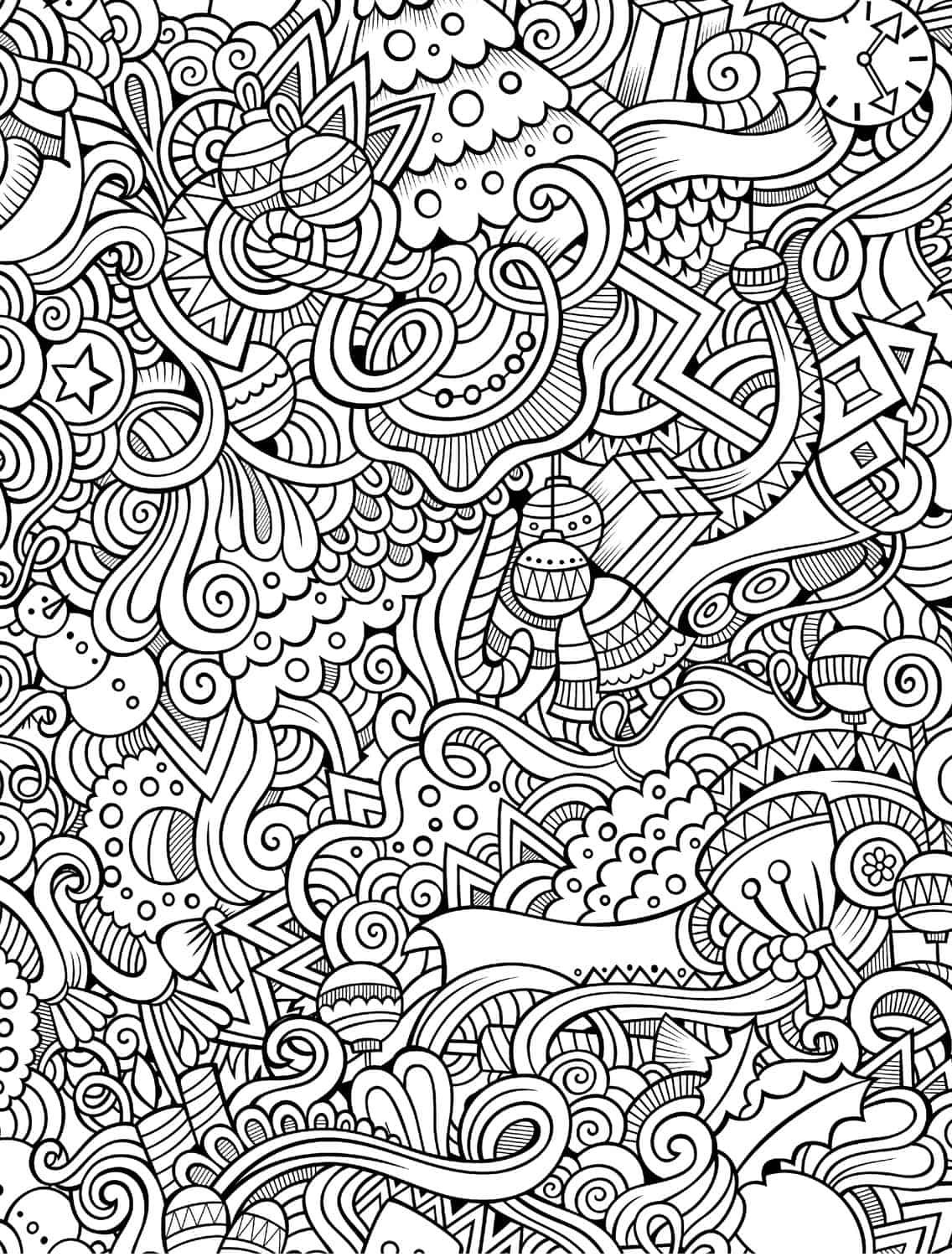 10 free printable holiday adult coloring pages for Coloring pages to print for adults