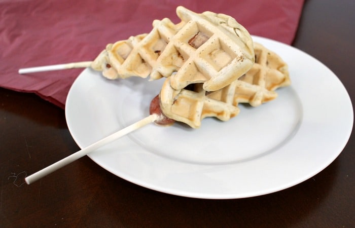 easy eggless dairy-free waffle corny dogs feature