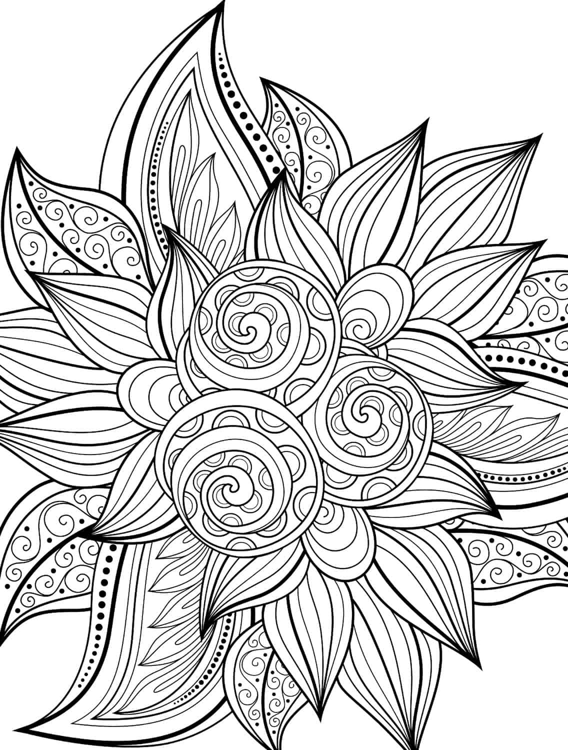 10 free printable holiday adult coloring pages for Flower adult coloring pages