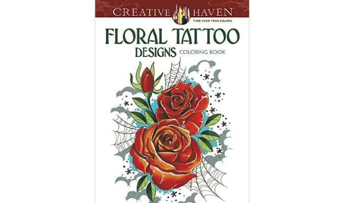 floral tattoo design adult coloring book
