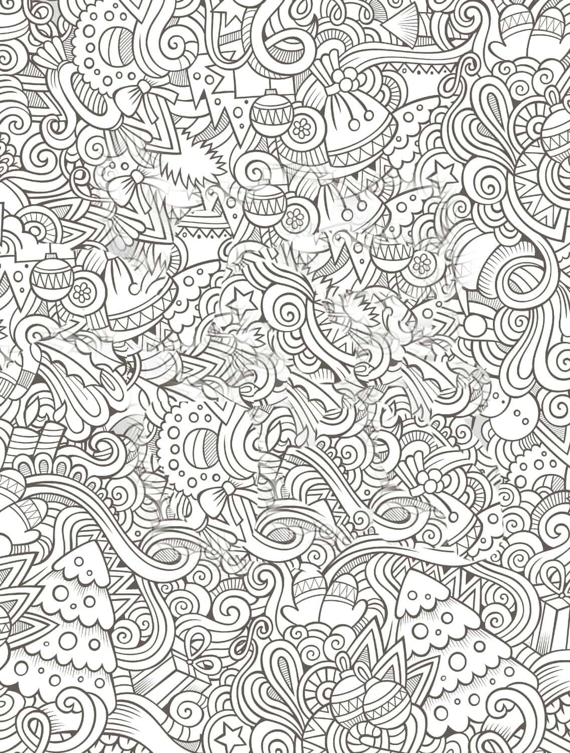 Busy Coloring Page For Free Christmas Gift Small