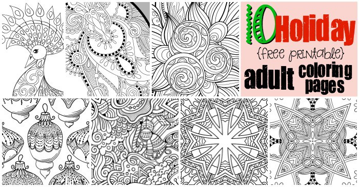 image relating to Free Printable Holiday Coloring Pages identify 10 Cost-free Printable Vacation Grownup Coloring Internet pages
