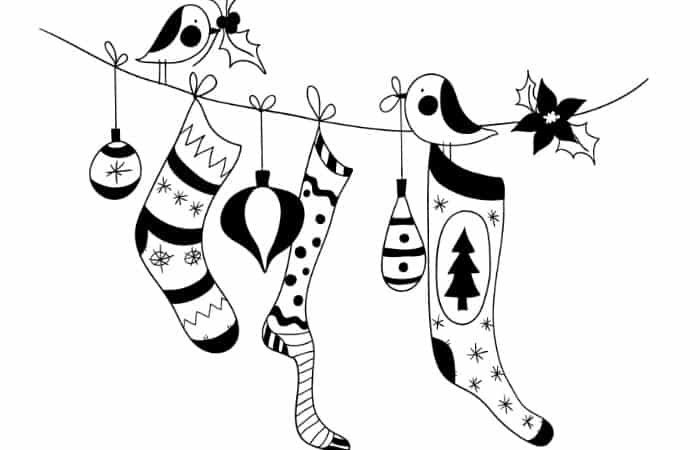 stocking christmas coloring page free printable - Christmas Coloring Pages Free