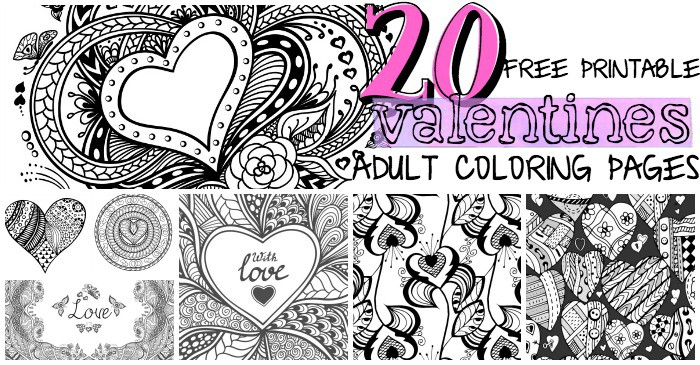 20 free printable valentines adult coloring pages fb