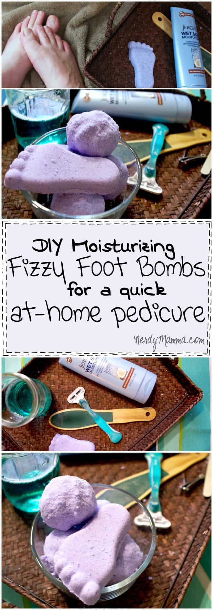 I love these DIY Moisturizing Fizzy Foot Bomb for a Quick At-Home Pedicure...makes my feet silky smooth and totally relaxed. #ad #WetSkinMoisturizer #cbias
