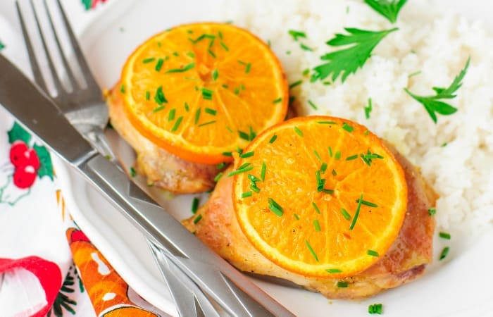 Lemon Chicken with Garlic and Orange in the crockpot feature