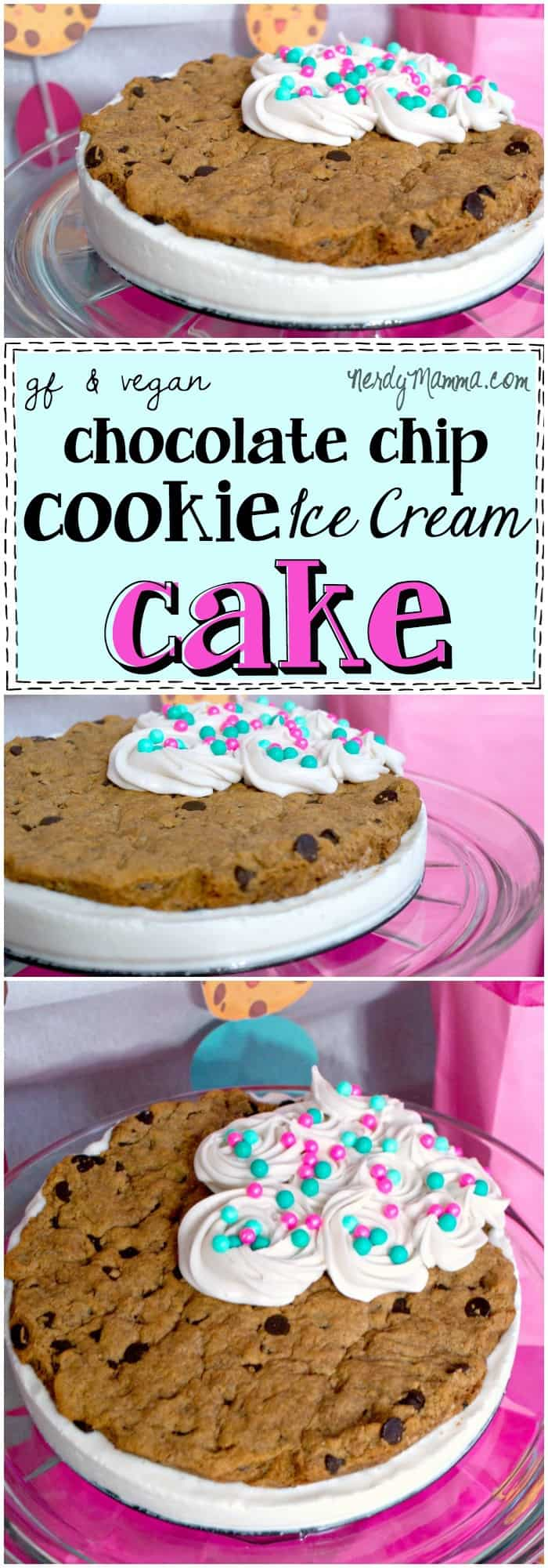 This dairy-free, egg-free, gluten-free, vegan, awesomeness is a total mind-blower. Who knew that you could have a Chocolate Chip Ice Cream Cake so easily! LOVE IT!
