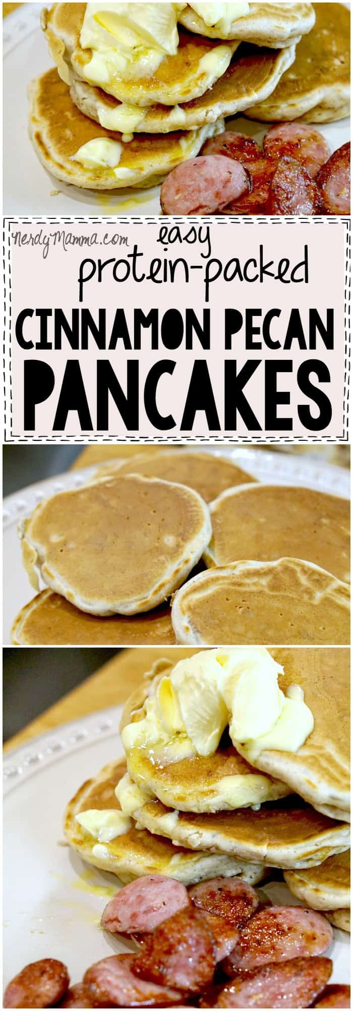 This recipe for Easy Protein-Packed Cinnamon Pecan Pancakes is SO EASY. And all that protein. I can't wait to try them!