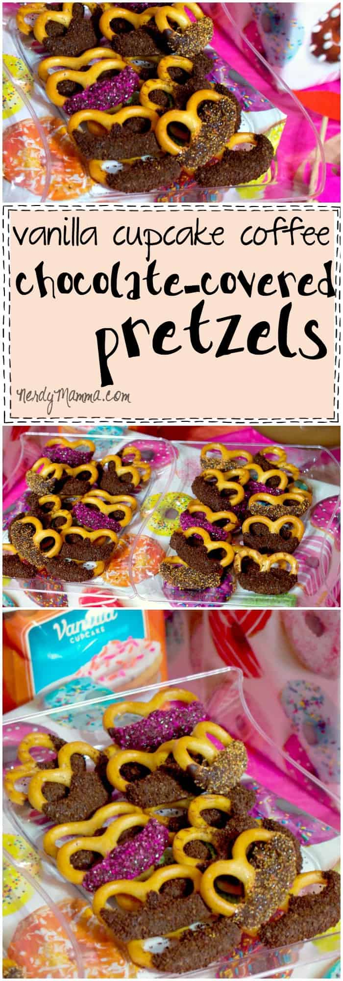 This recipe for Vanilla Cupcake Coffee Chocolate-Covered Pretzels is INSANE. I love the idea of putting coffee on my pretzels. Pure. Genius.