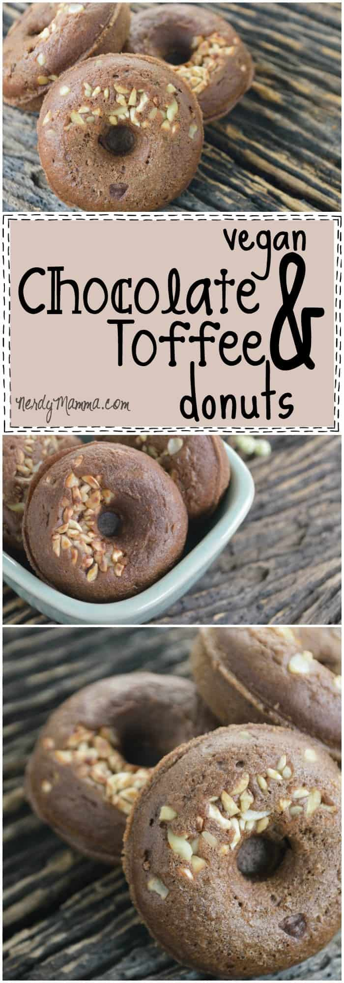 This recipe for these vegan chocolate and toffee donuts are to die for! I will not share. Nope. These are my eggless and dairy-free donuts. End. Of. Story. Heh.