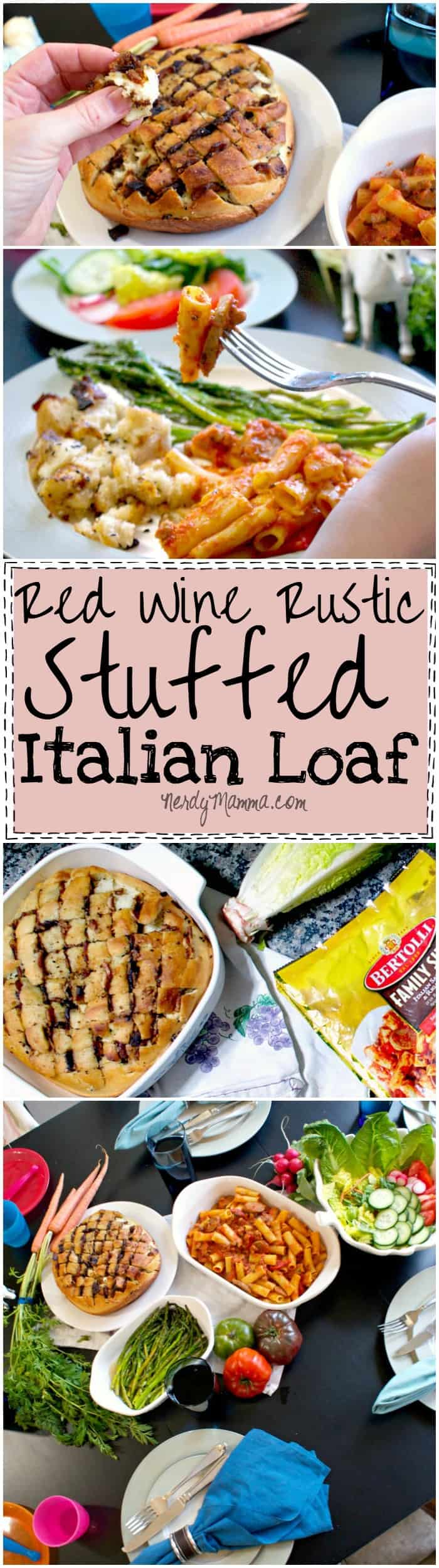 This recipe for this bacon and cheese stuffed red wine rustic Italian bread is amazing. I mean, mozzarella, candied bacon and garlic! LOVE!