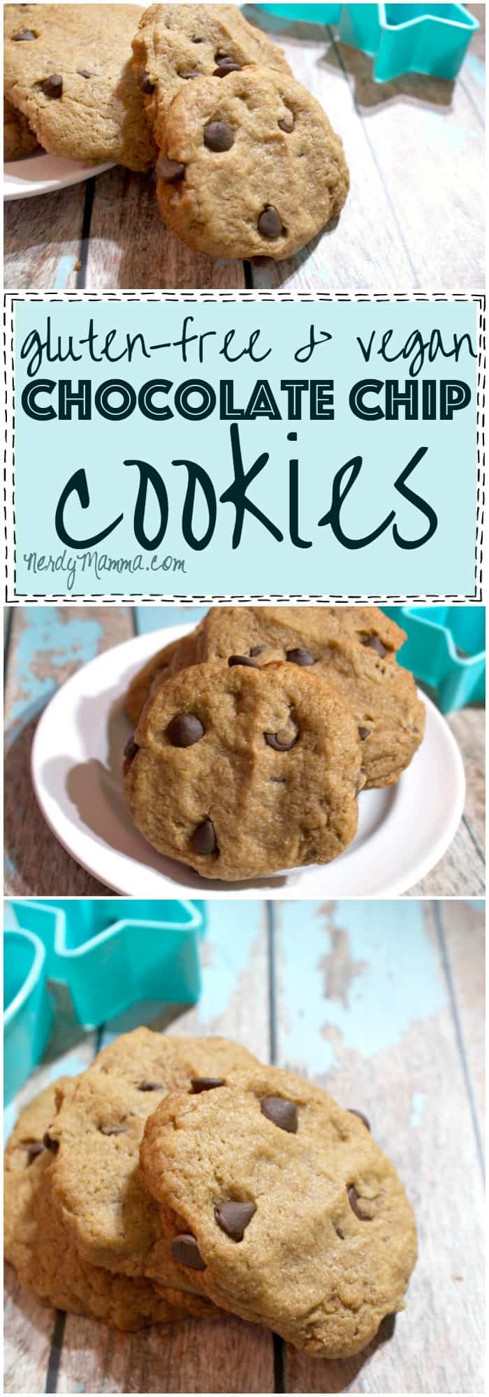 This recipe for vegan and gluten-free chocolate chip cookies is so EASY. I had no idea cooking gluten-free you could still have yummy things like cookies. This is so awesome.