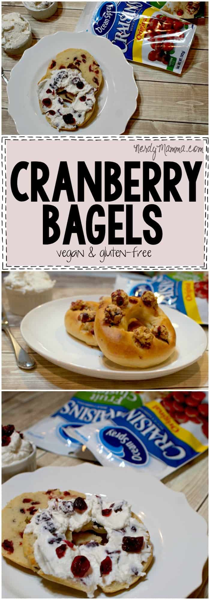 This recipe for vegan and gluten-free cranberry bagels is so fast and easy. And it tastes amazing...So yummy...#ad #BetterWithCraisins #cbias