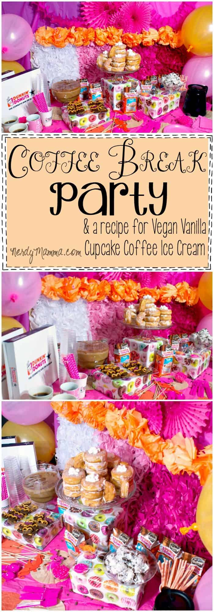 What a FUN idea! It's a Coffee Break Party and a yummy recipe for vegan vanilla cupcake coffee ice cream. I love it!