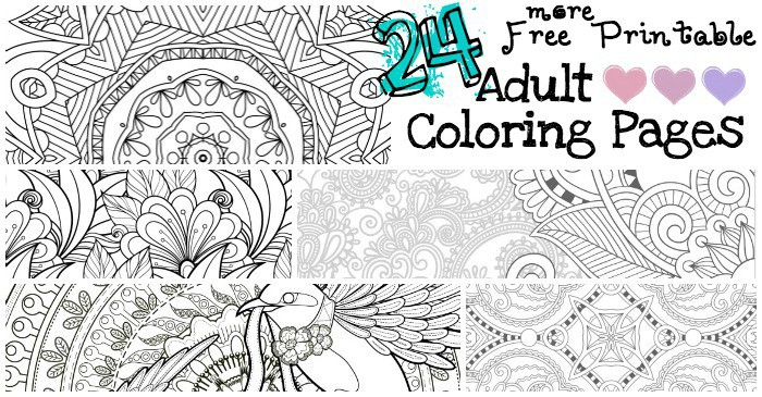24 More Free Printable Adult Coloring Pages - Nerdy Mamma
