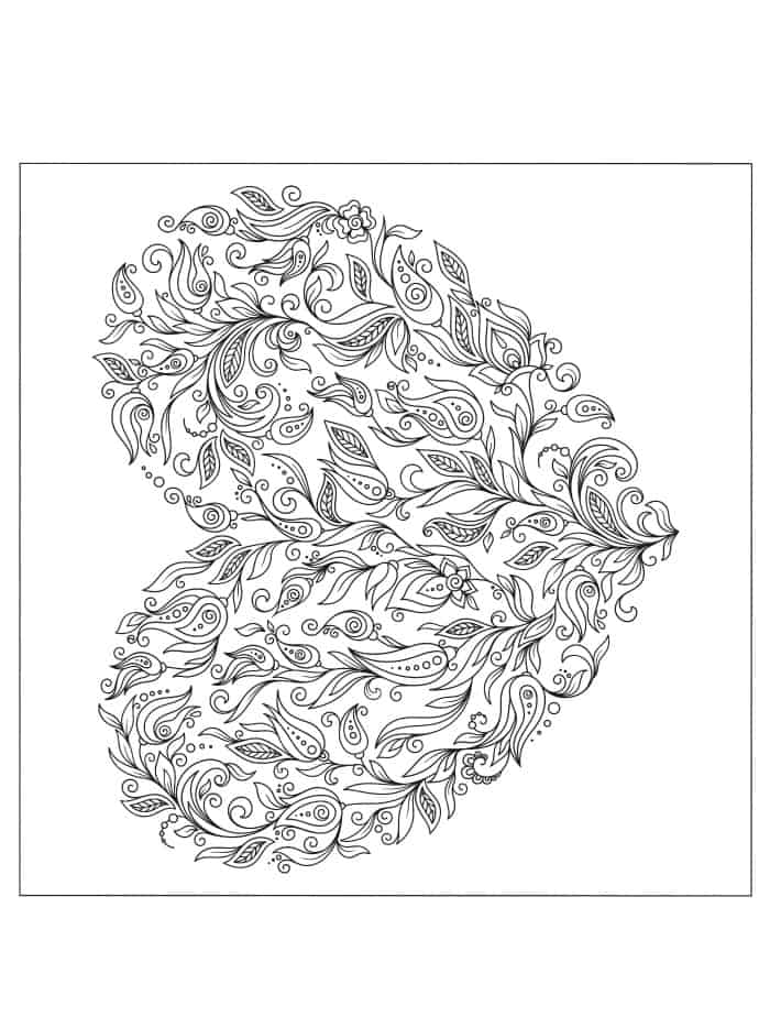 beautiful coloring page for adults for valentines