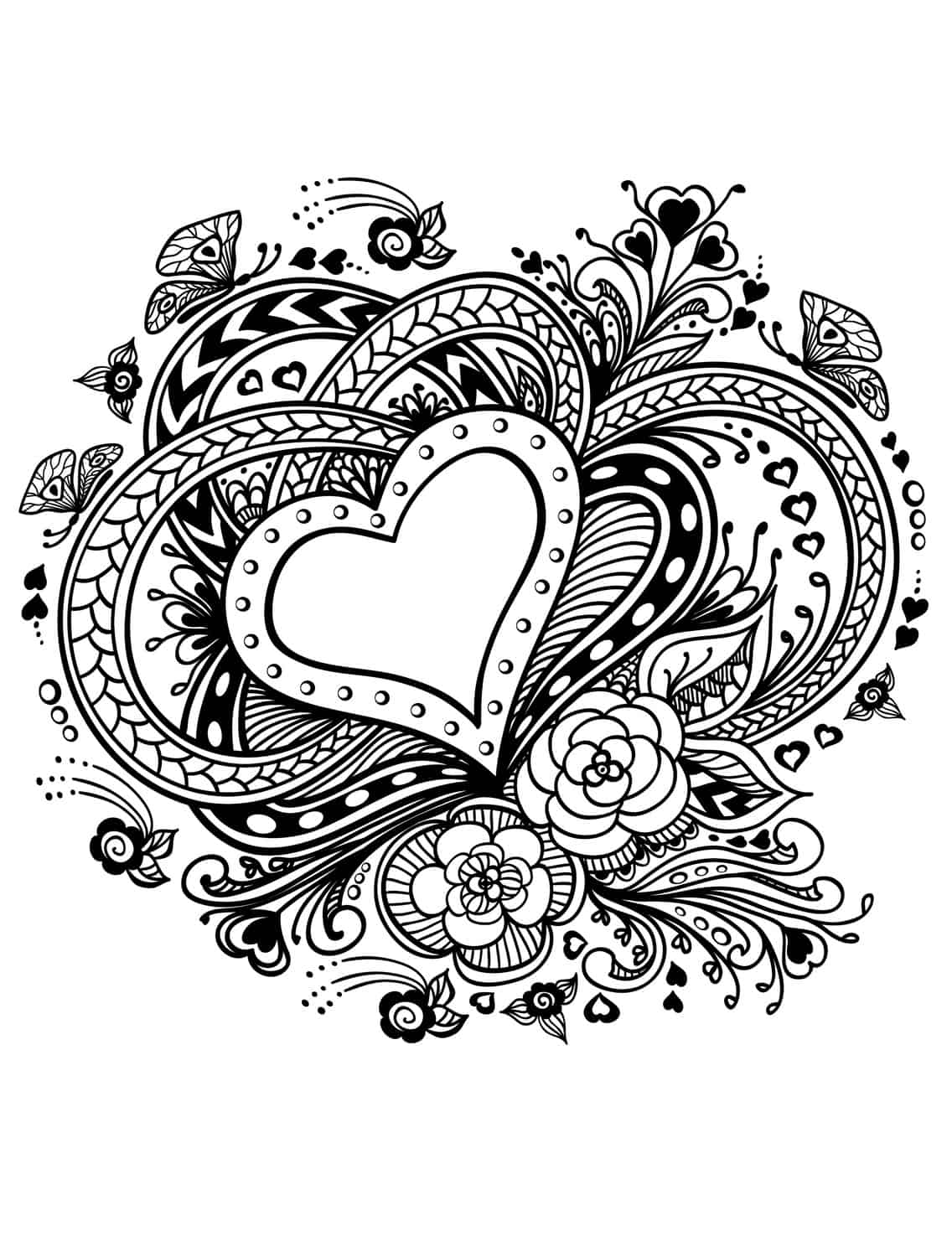 20 Free Printable Valentines Adult Coloring Pages - Nerdy Mamma
