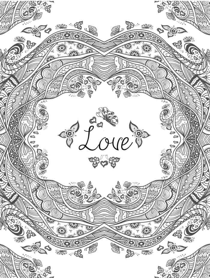 coloring pages about love for adults