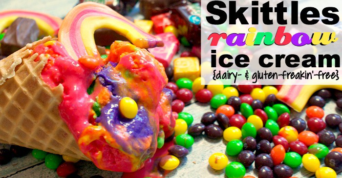 dairy-free and gluten-free rainbow ice cream recipe made with skittles fbook