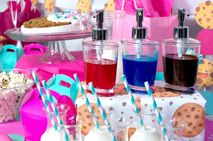 drink flavoring station at a kids birthday party