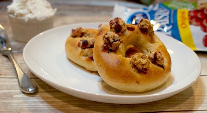 gluten-free and vegan cranberry bagels hero