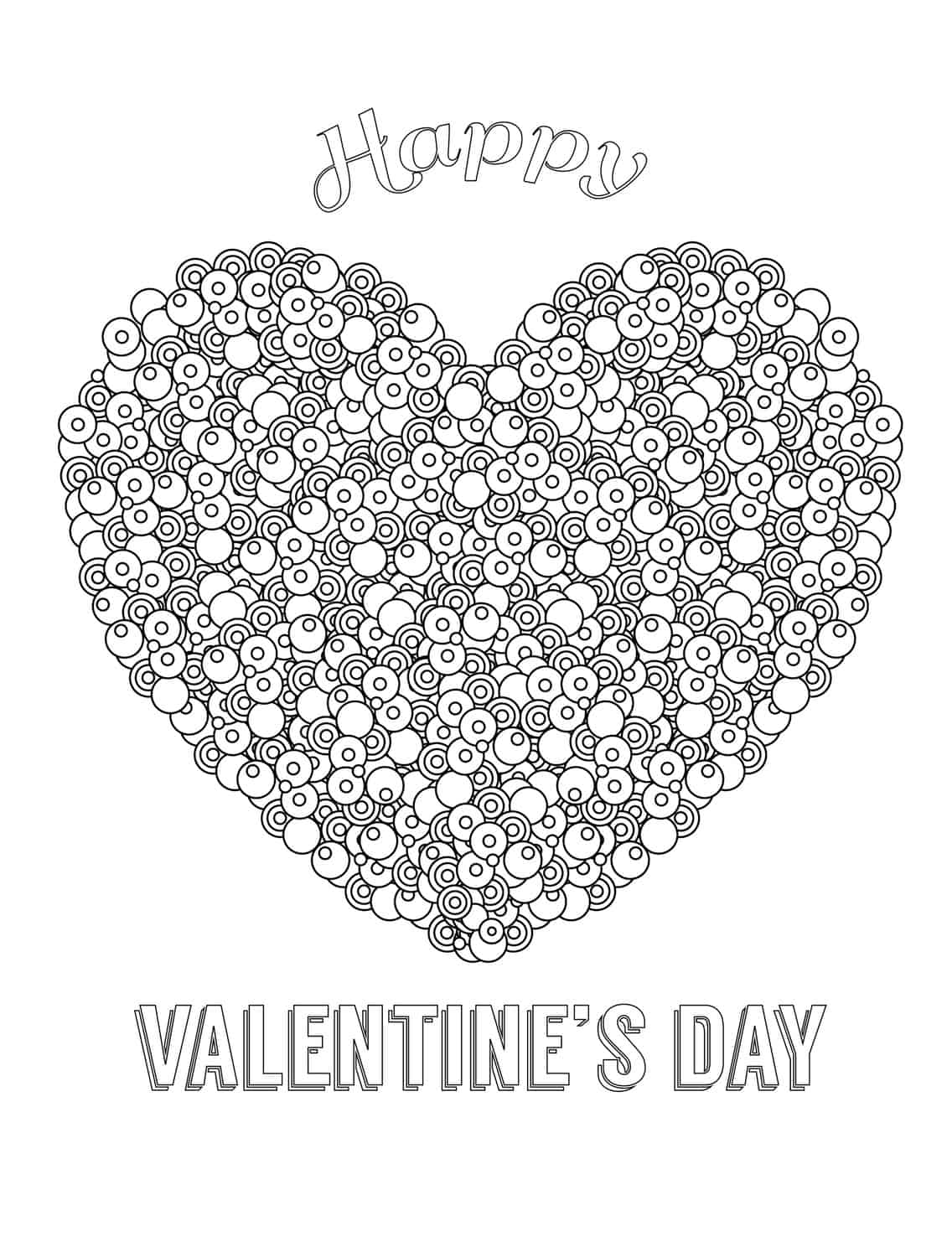 Happy Valentines Day Free Printable Adult Coloring Page