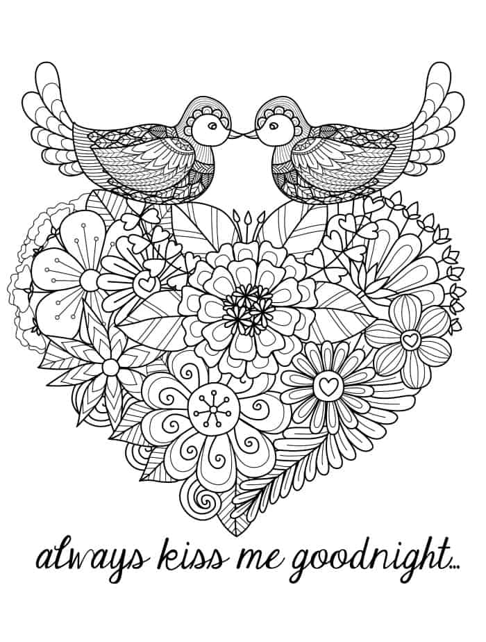 heart adult coloring page