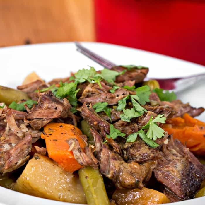 homemade pot roast in the crock pot