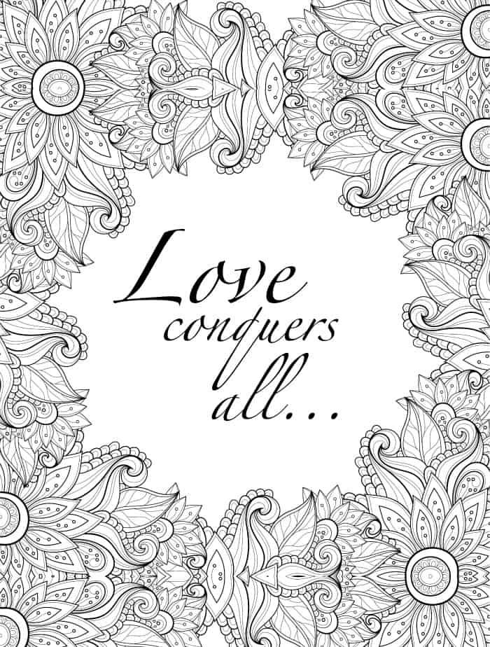 valentines coloring page for adults with quote printable