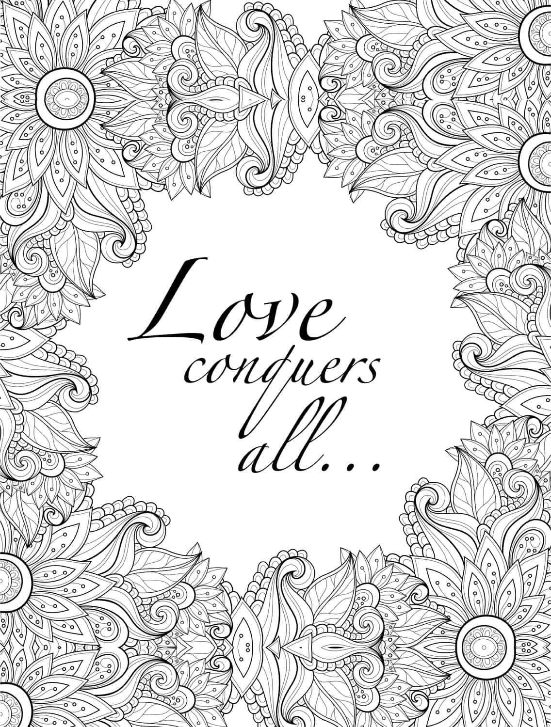 valentines coloring page for adults with quote printable1