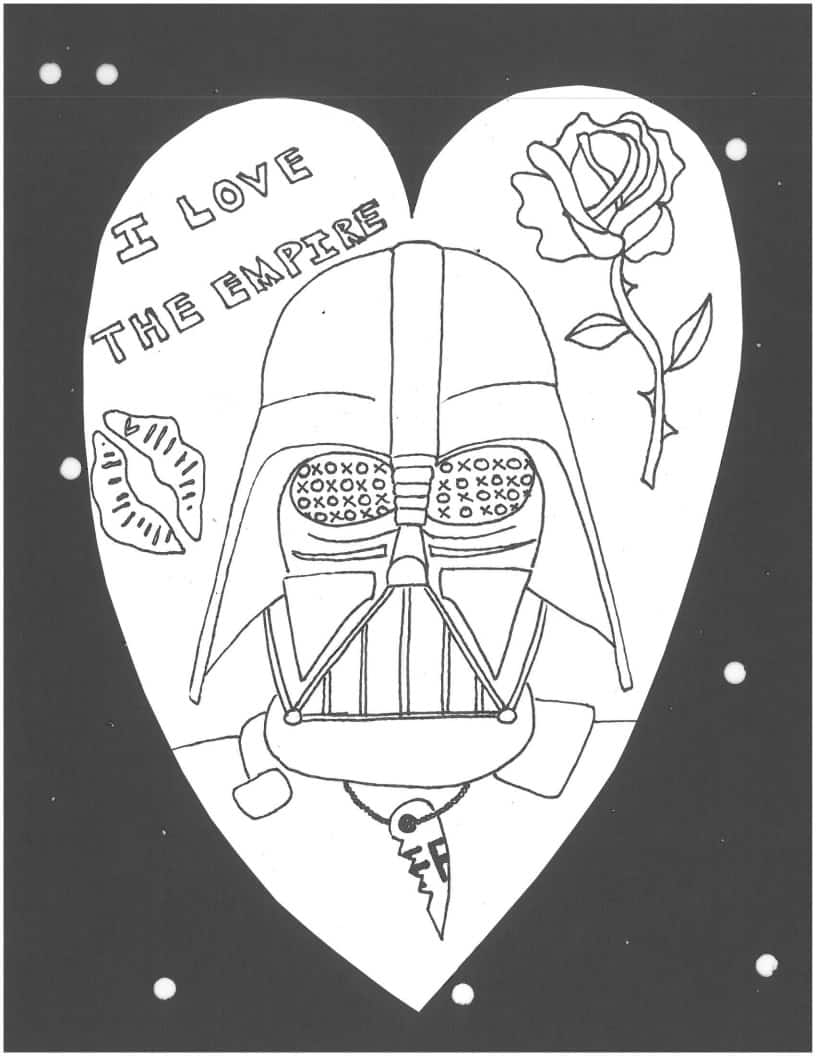 Darth Vader Heart coloring page