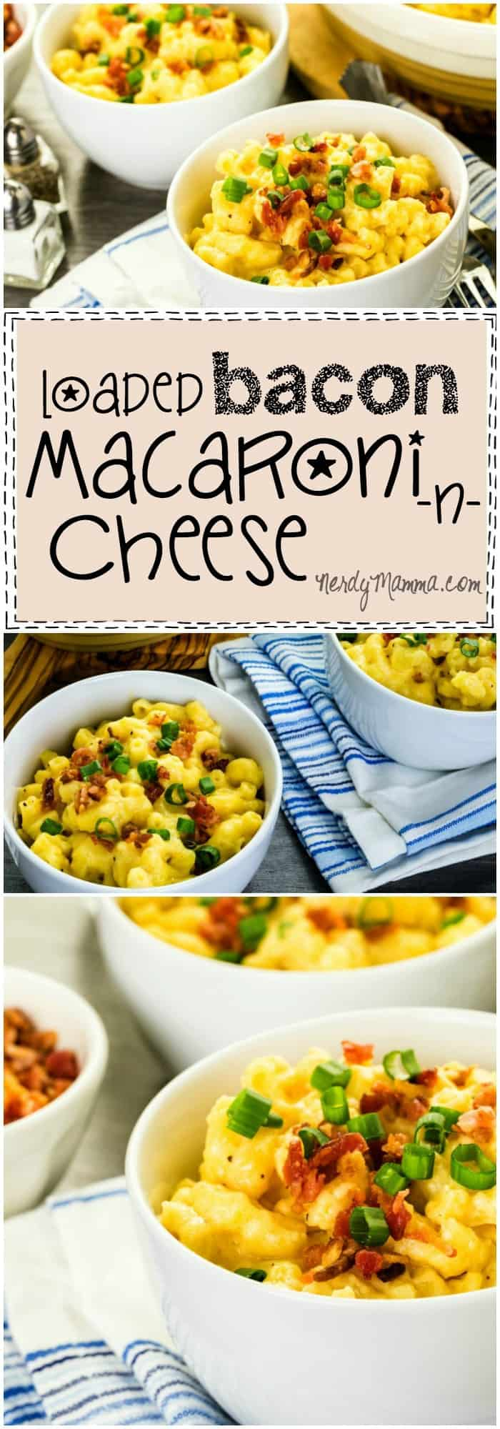 I absolutely love this recipe for bacon macaroni and cheese! It's bacon-ey and cheesy...two things that MUST go together!