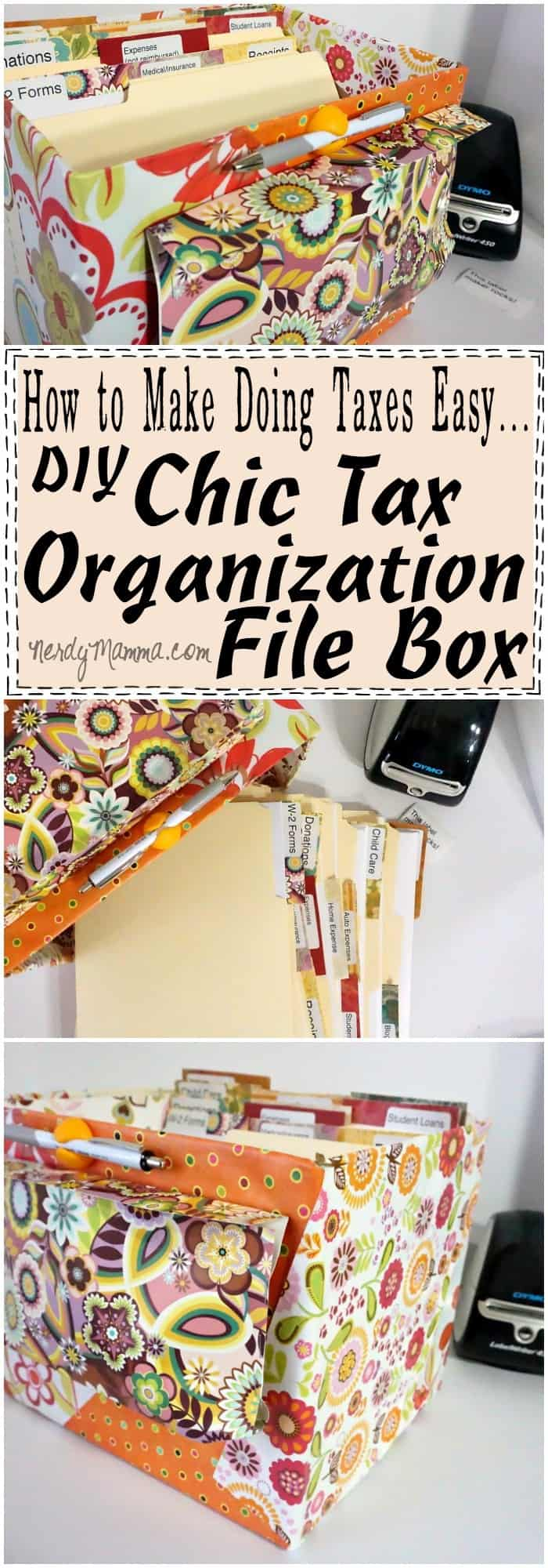 I love this DIY Chic Tax Organization File Box...I can totally see how doing this would make doing taxes easy. I'm absolutely making my own!