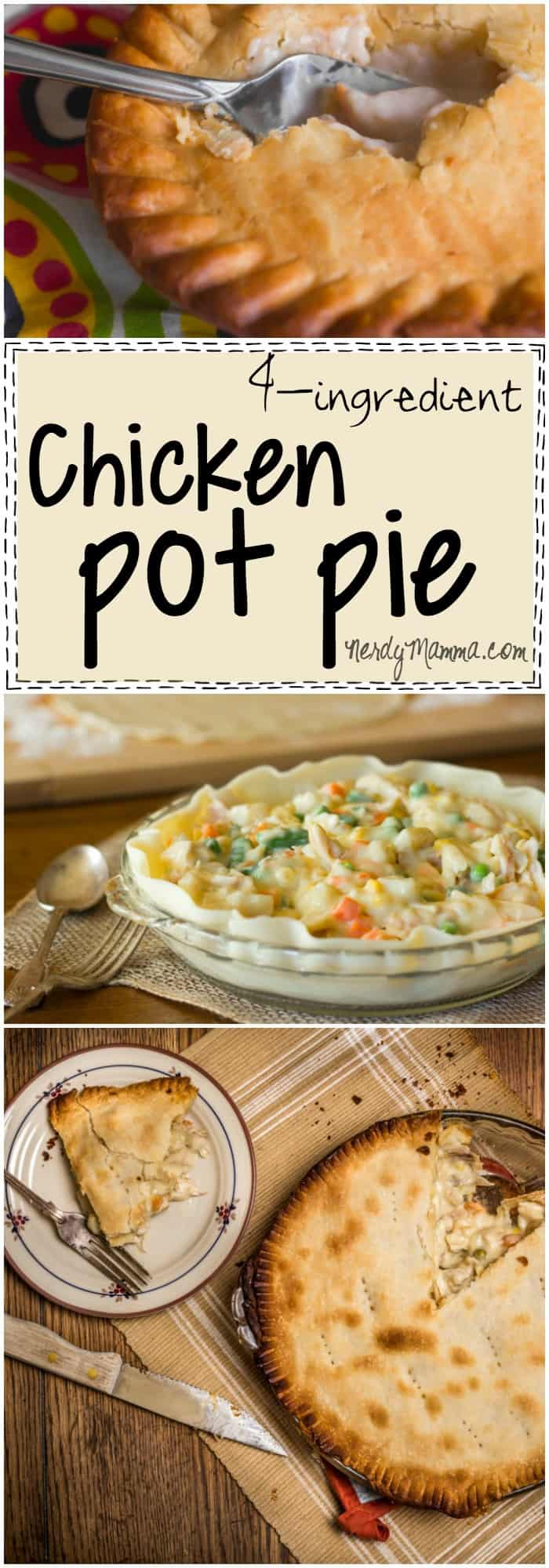 I love this recipe for 4-Ingredient Chicken Pot Pie. So fast and quick--I might be making this tonight.