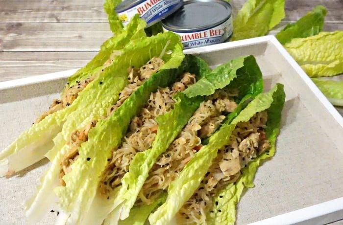 Quick Teriyaki Tuna & Noodle Stir-Fry Lettuce Wraps random