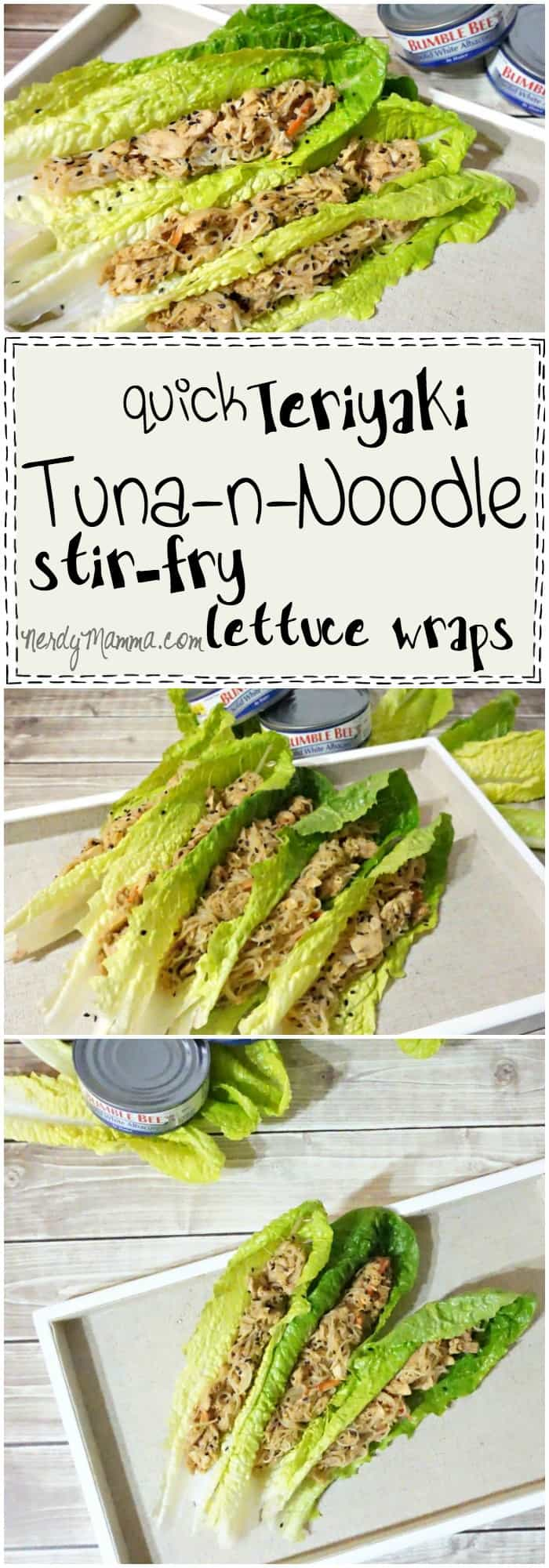 So fast. This recipe for Quick Teriyaki Tuna and Noodle Stir Fry Lettuce Wraps only takes 5 minutes. How AWESOME is that!
