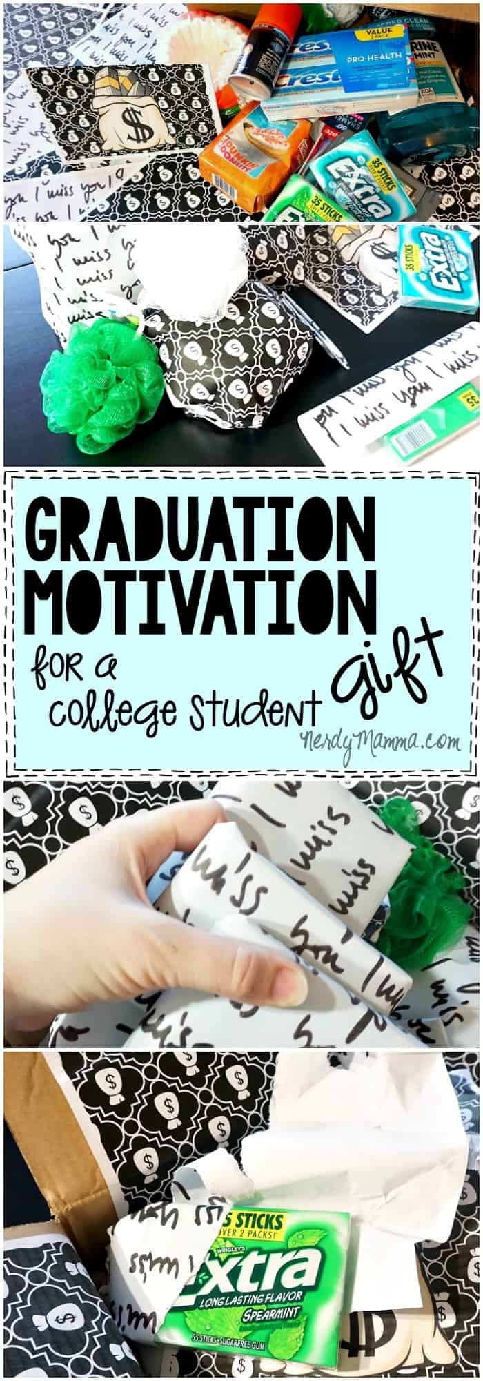 Such a great idea for sending a college student a care package gift to help motivate them to graduate! Such a sweet thought.