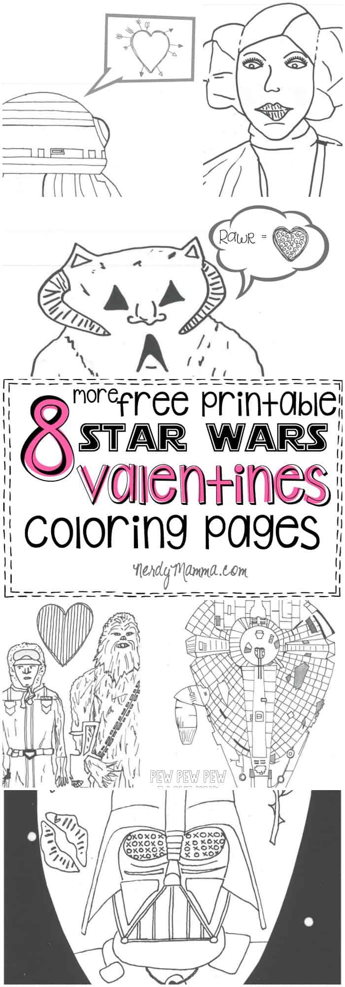 These free printable Star Wars valentines coloring pages are so funny...and just cool enough to be cool even when its not valentines!