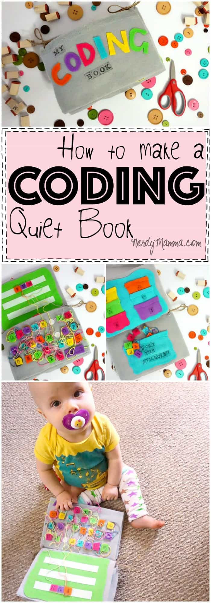This easy tutorial for making a coding quiet book is so cute! Definitely need one for my little nerd! LOL!