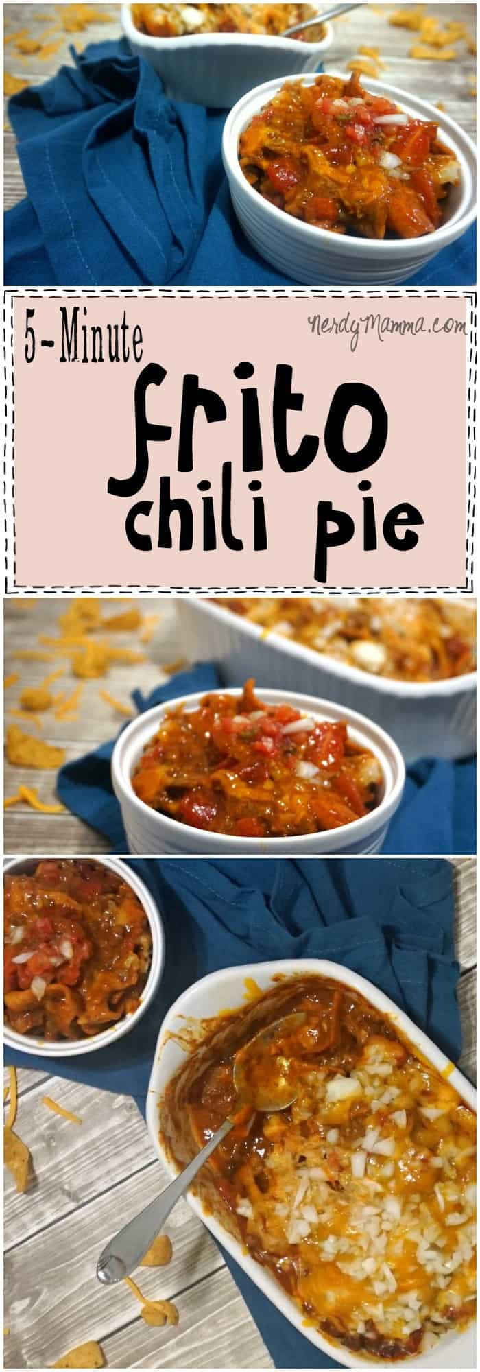 This recipe for 5-minute Frito Chili Pie is so RIDICULOUSLY easy. And sounds amazing...I love it.