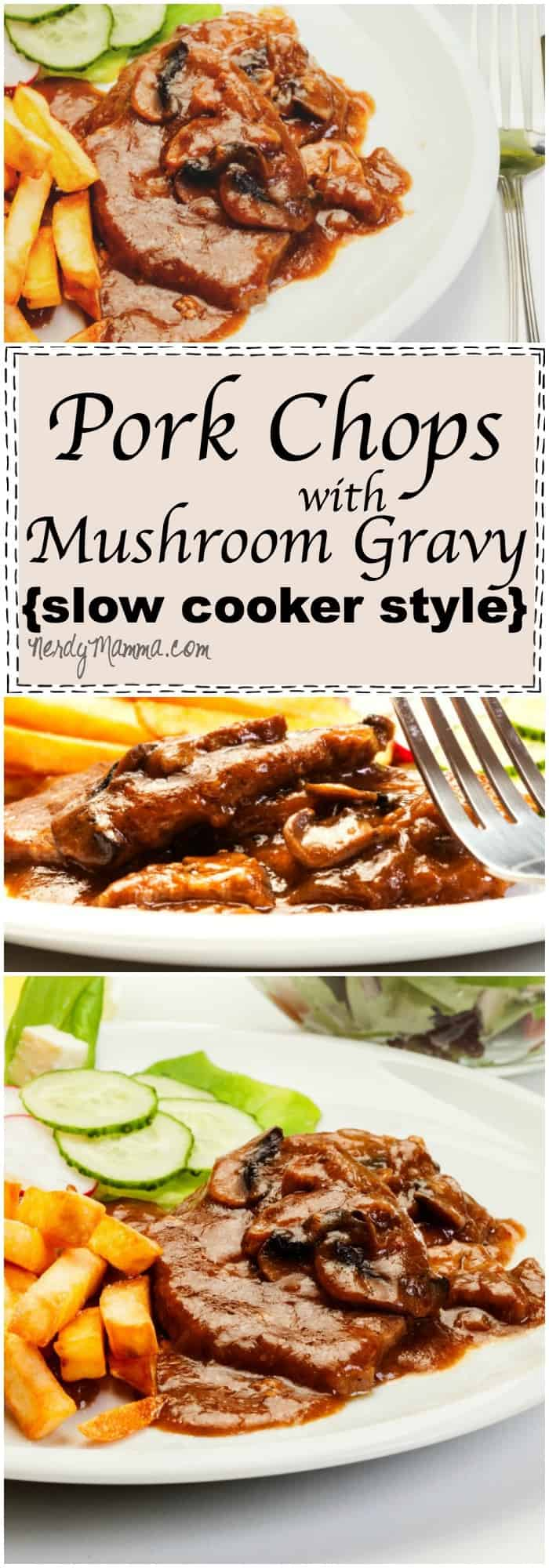 This recipe for Pork Chops with Mushroom Gravy is SO SIMPLE. I mean, I wish I'd thought of this before--it's so easy, I love it!