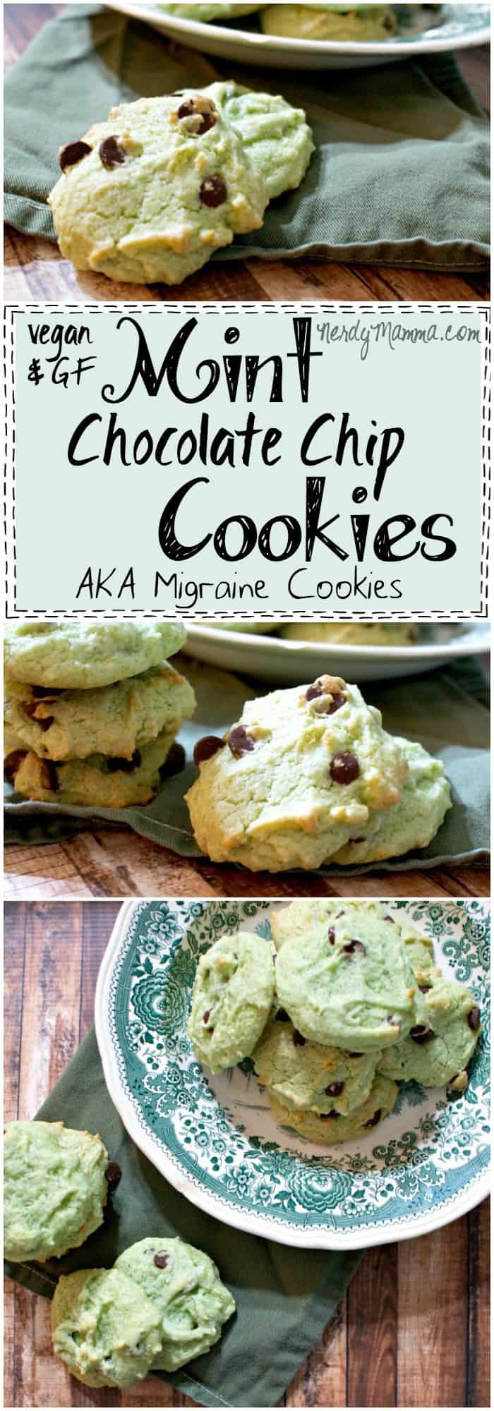This recipe for Vegan and Gluten-Free Mint Chocolate Chip Cookies looks so easy! And I love the idea that these are migraine cookies. LOL!