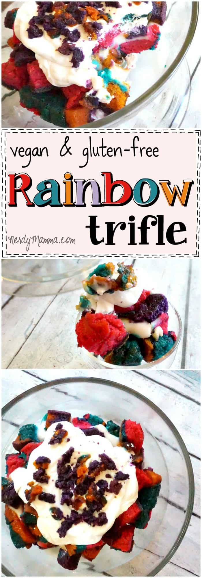 This recipe for vegan and gluten-free rainbow trifle is so cool! I love the colors...and the pudding...it's just everything awesome. Love it.