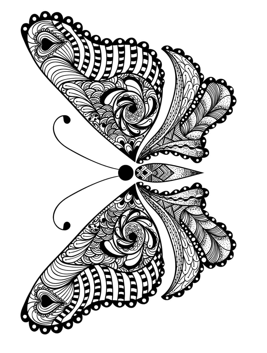 Adult Coloring Page With Butterfly Pic