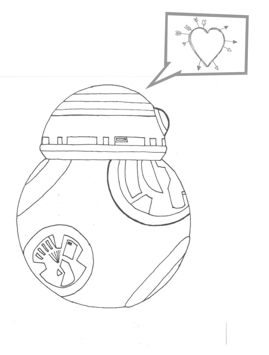 bb8 love coloring page