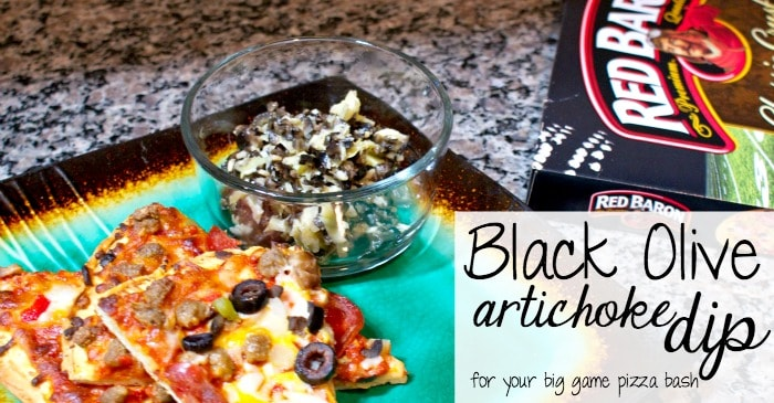 black olive artichoke dip for your big game pizza bash fb