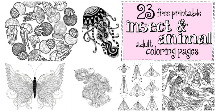 23 Free Printable Insect & Animal Adult Coloring Pages - Nerdy Mamma
