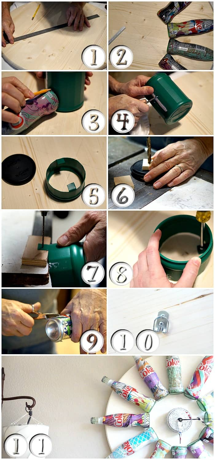 easy tutorial for how to upcycle coke bottles into a clock